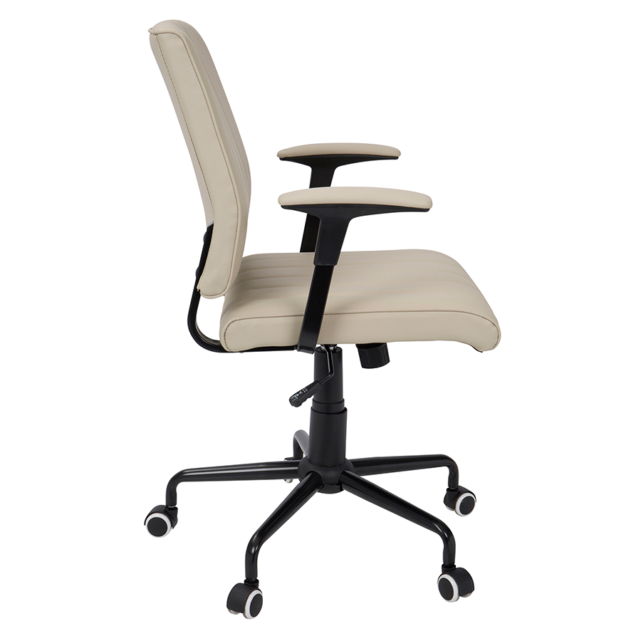 Cindra Black Metal + Beige Leatherette Modern Office Chair