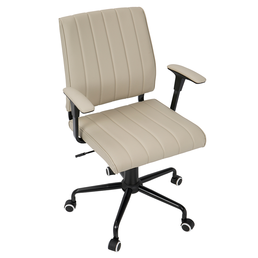 Cindra Black Frame + Beige Upholstery Contemporary Office Chair