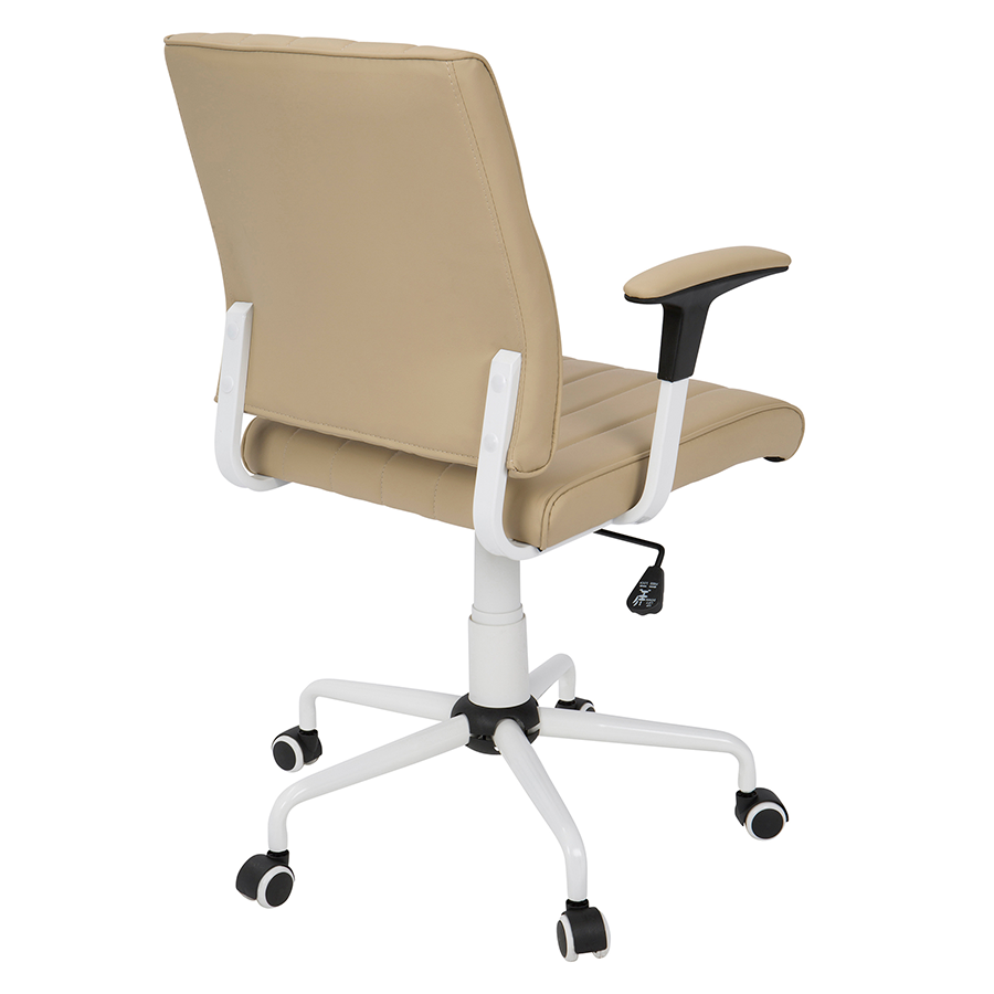 Cindra White + Tan Leatherette Contemporary Office Chair