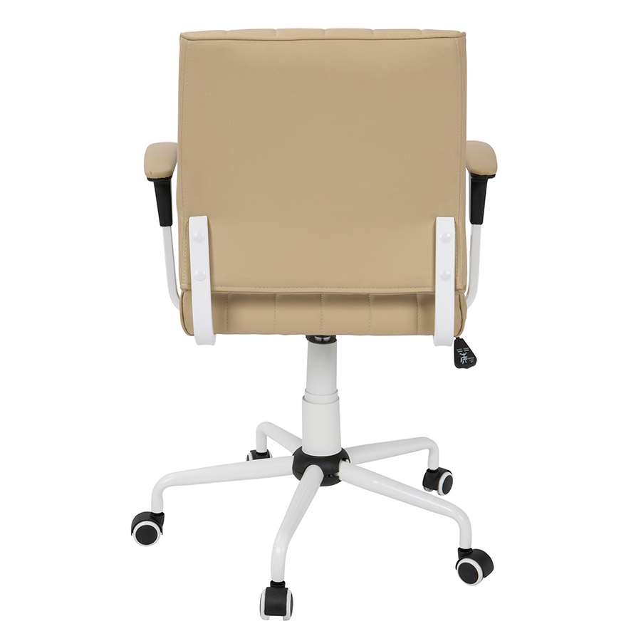 Cindra White Frame + Tan Upholstery Modern Office Chair