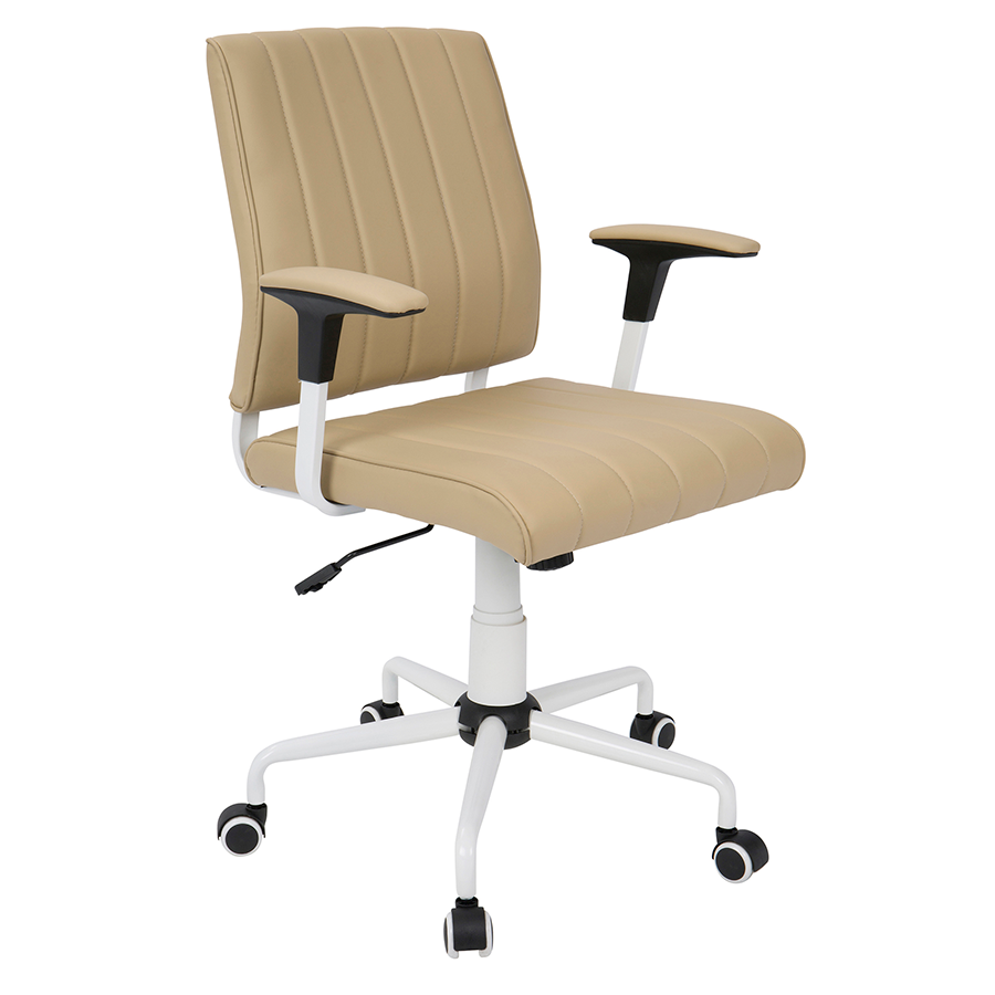 Cindra White + Tan Modern Office Chair