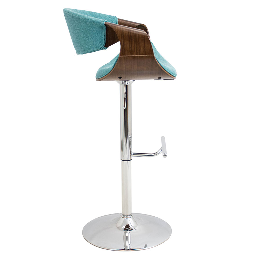 Clifton Contemporary Walnut + Teal Modern Adjustable Stool