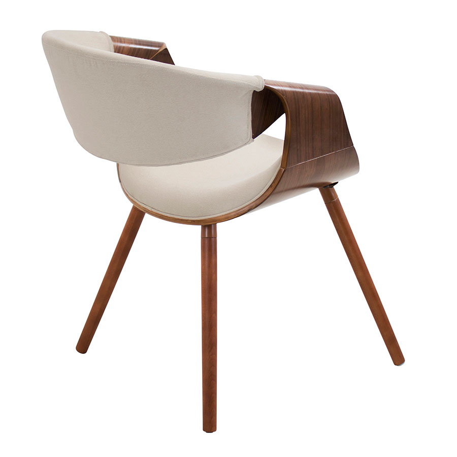 Clifton Cream + Walnut Contemporary Arm Chair