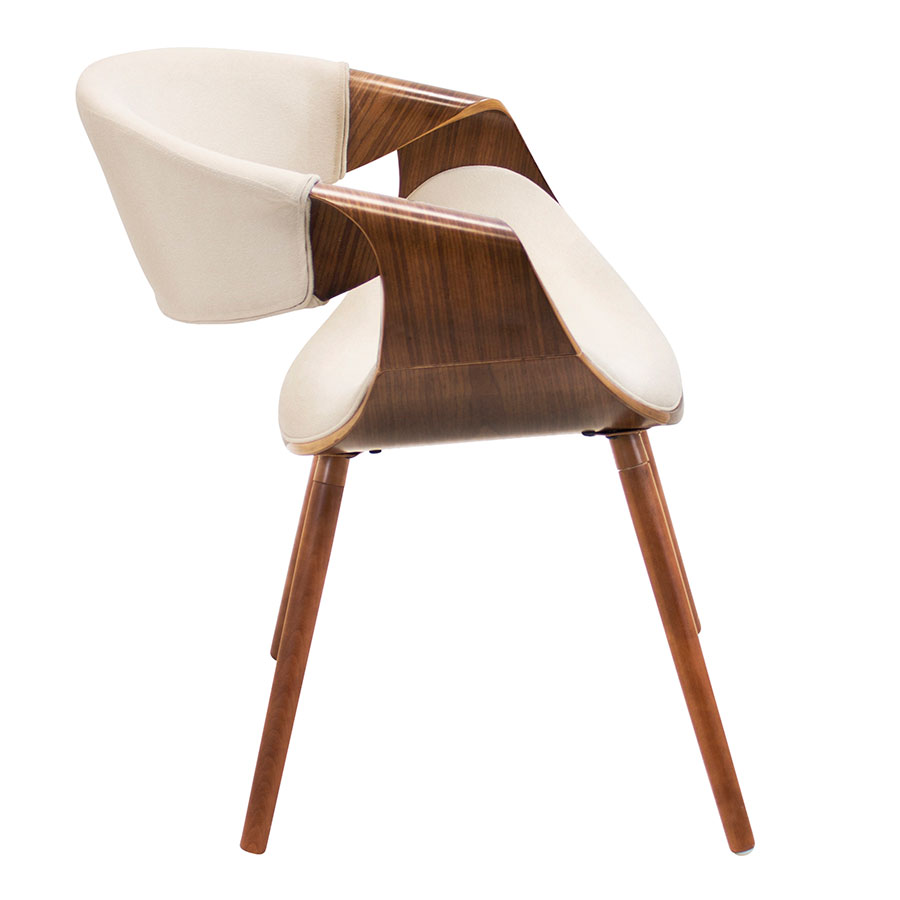 Clifton Cream + Walnut Modern Arm Chair