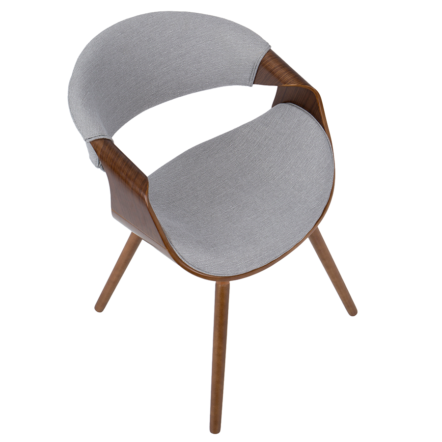 Clifton Gray Fabric + Walnut Contemporary Arm Chair