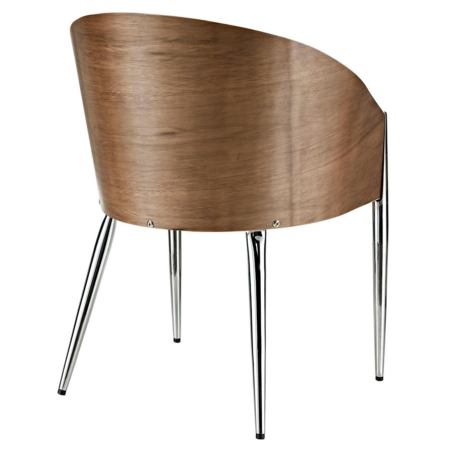 Conley Chrome + Walnut Contemporary Arm Chair