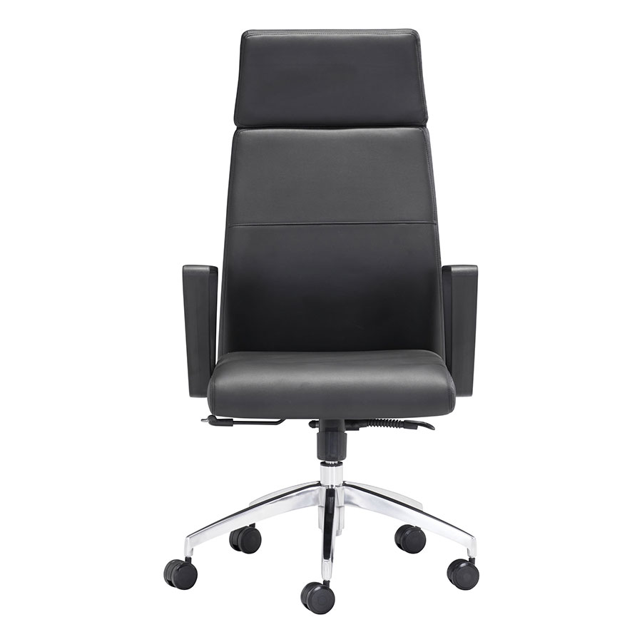 Conrad Black Chrome High Back Office Chair Front