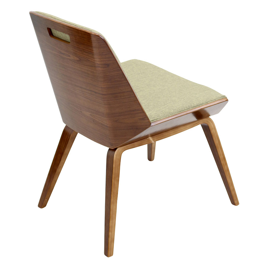 Constance Green Fabric+ Solid Walnut Modern Side Chair