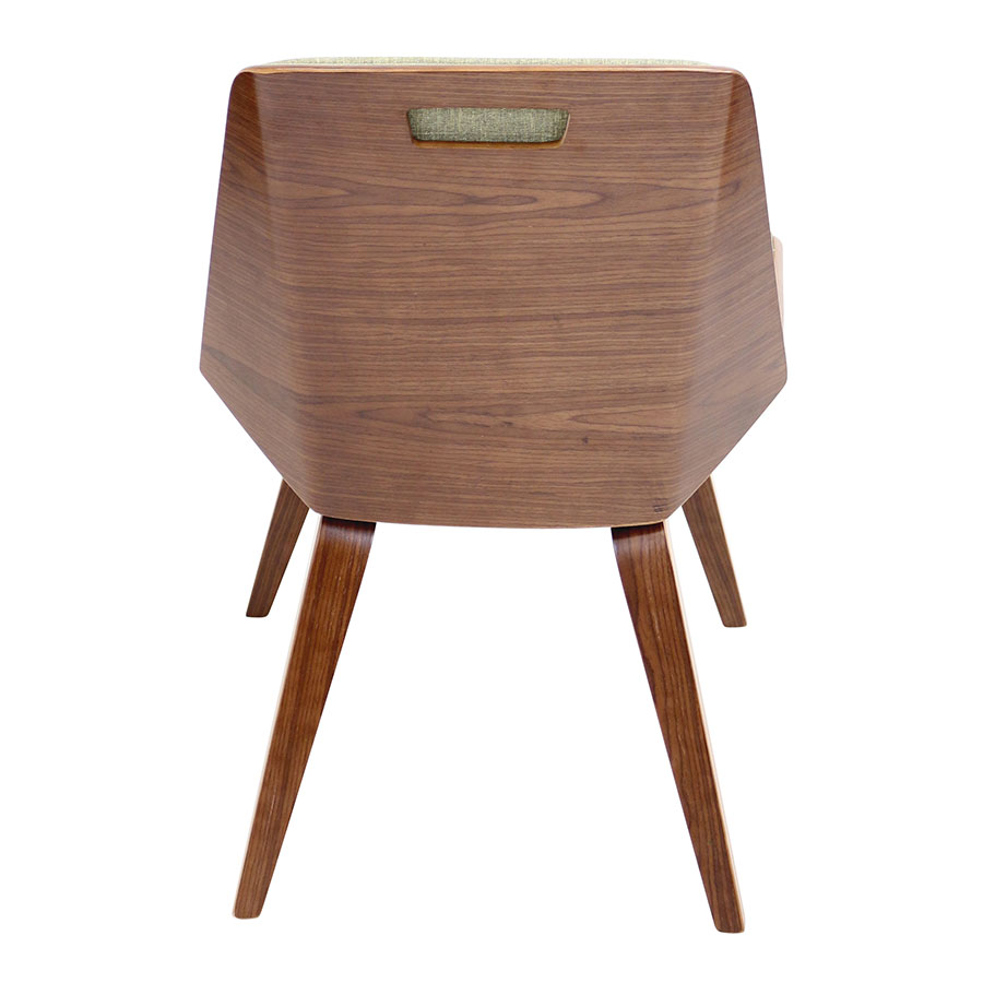 Constance Green Fabric+ Solid Walnut Contemporary Side Chair