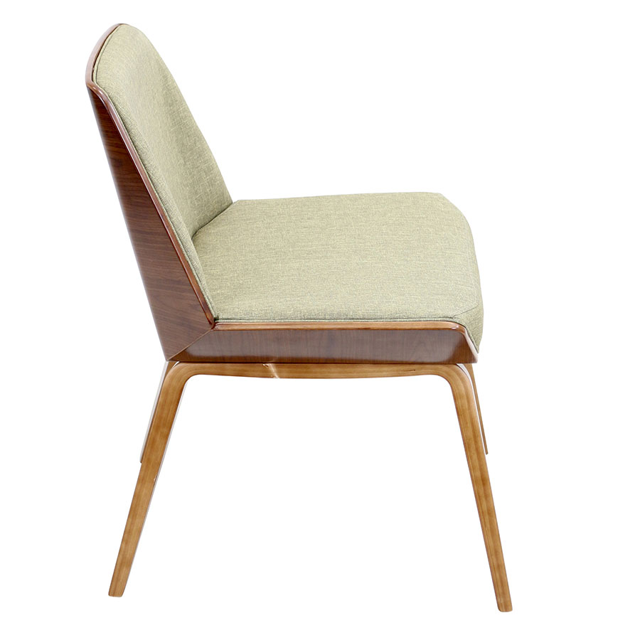 Constance Green + Walnut Modern Side Chair