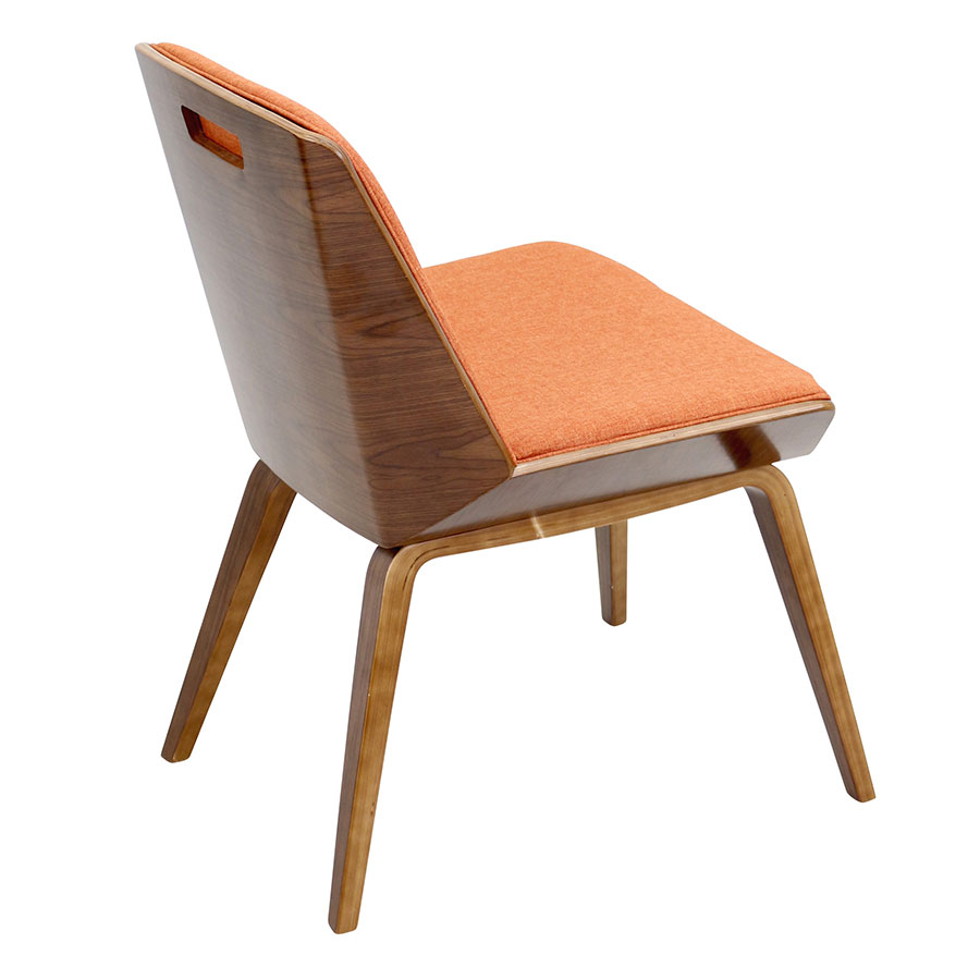 Constance Orange + Walnut Contemporary Side Chair