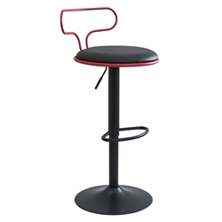 Contessa Red + Black Leatherette + Metal Modern Adjustable Height Bar+ Counter Stool
