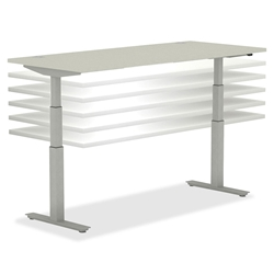 Modern Desks: Continuum Height Adjustable Desk in Silver Mesh