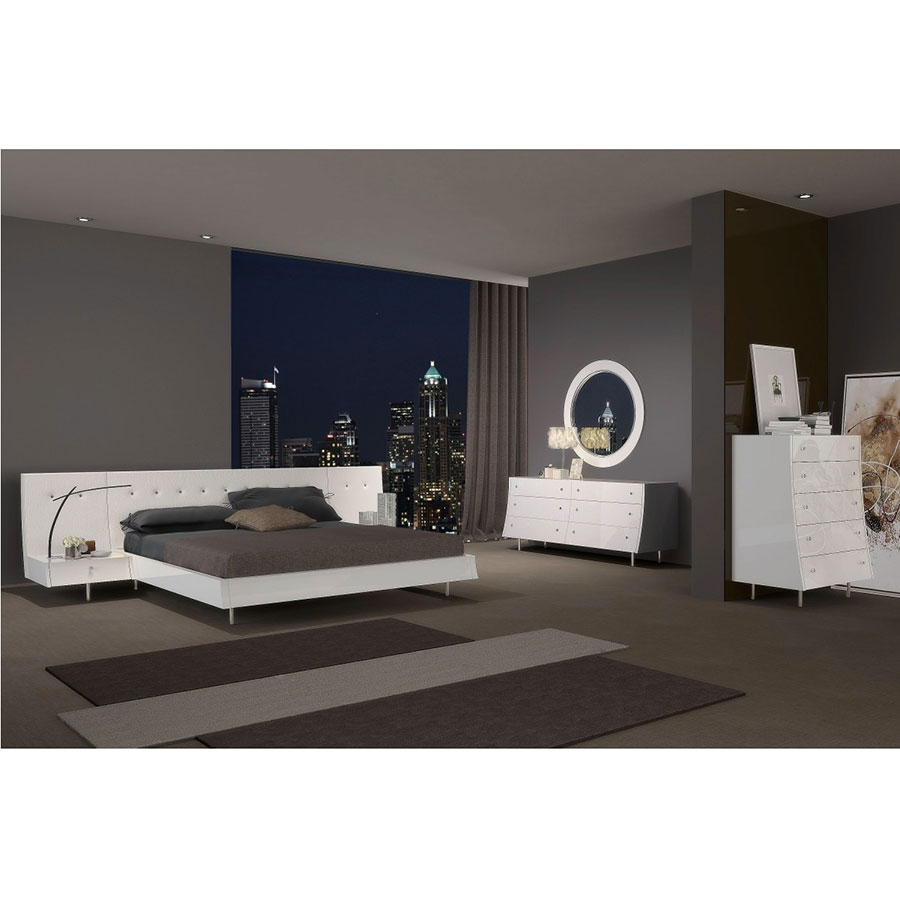 Cordoba White Platform Bedroom Collection