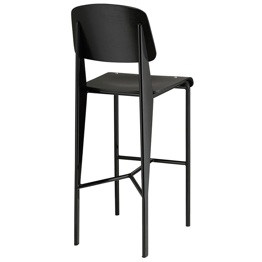 Cornwall Modern Black Bar Stool - Back View