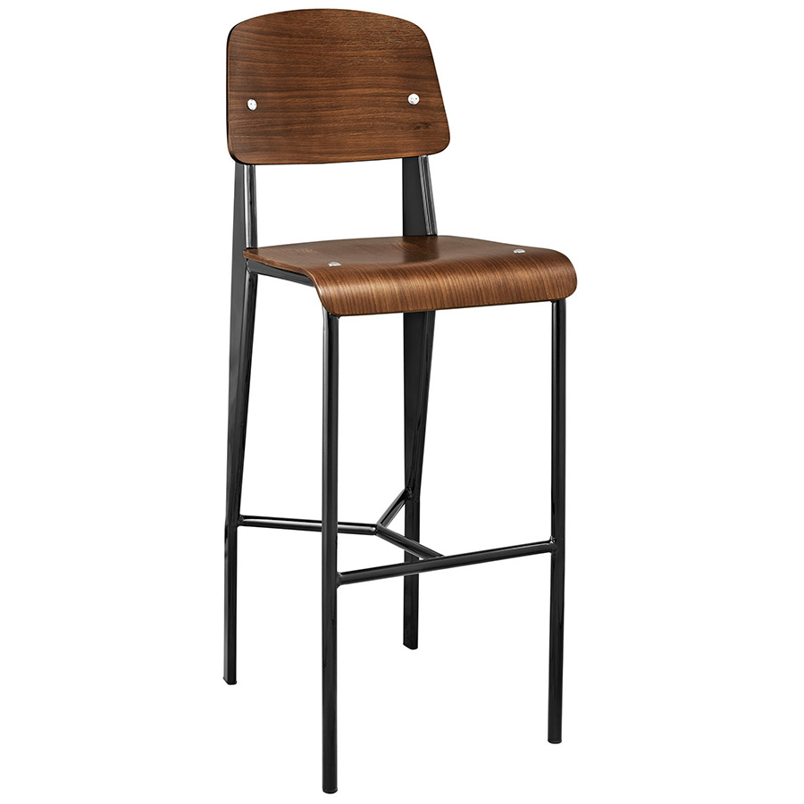 Cornwall Modern Walnut Bar Stool