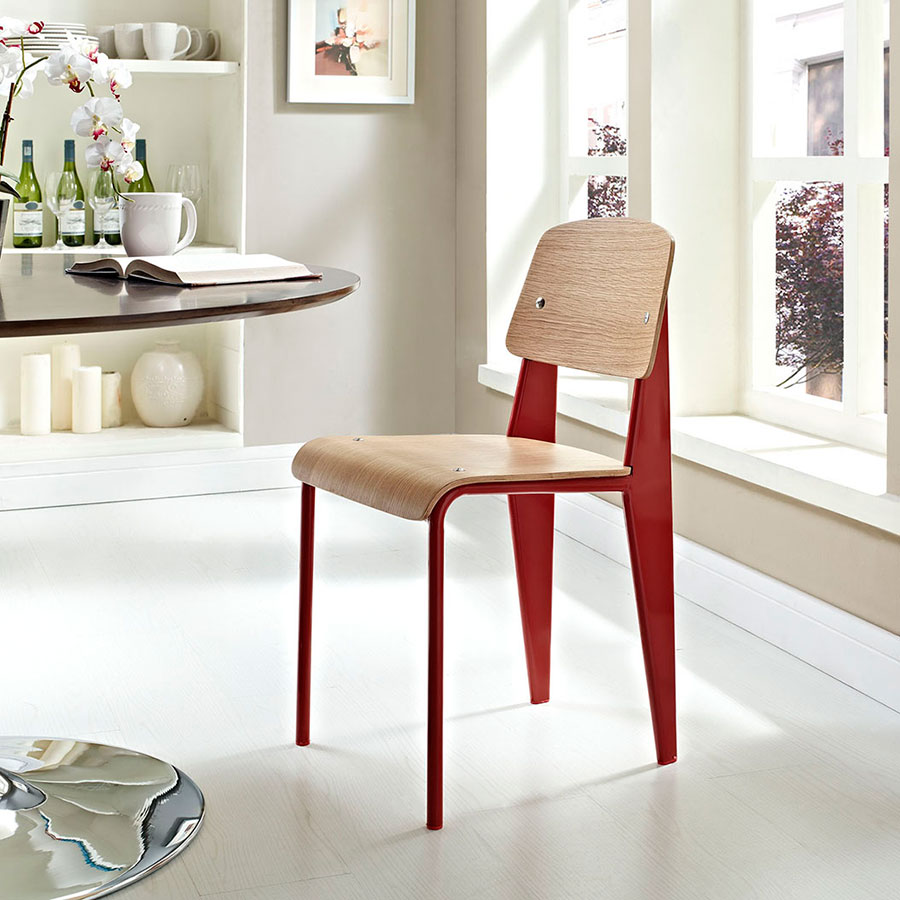 Cornwall Red + Natural Contemporary Dining Side Chair