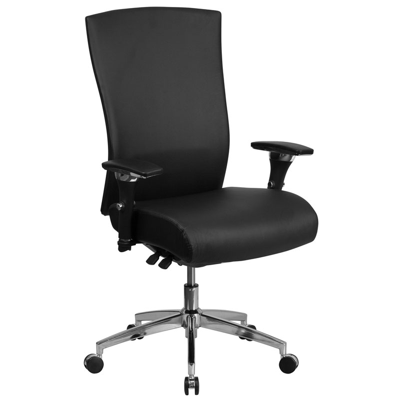 Corona 300 lb Capacity Black Leather High Back Office Chair