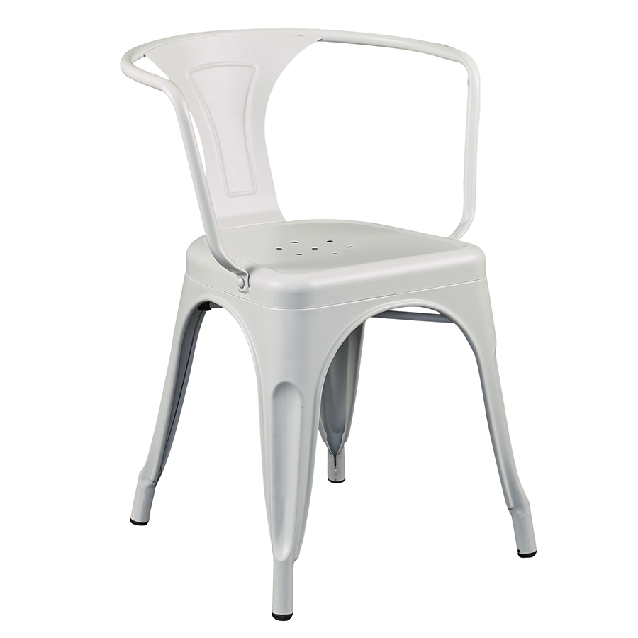 Corsair Matte White Modern Arm Chair