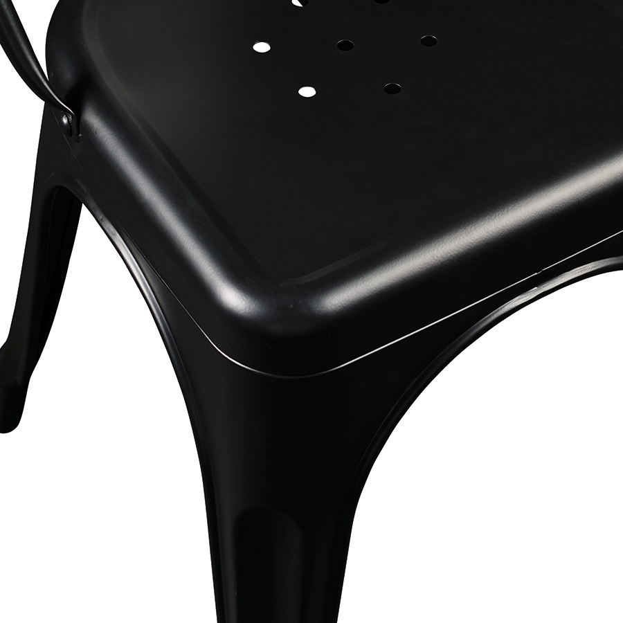 Corsair Matte Black Metal Modern Side Chair Detail