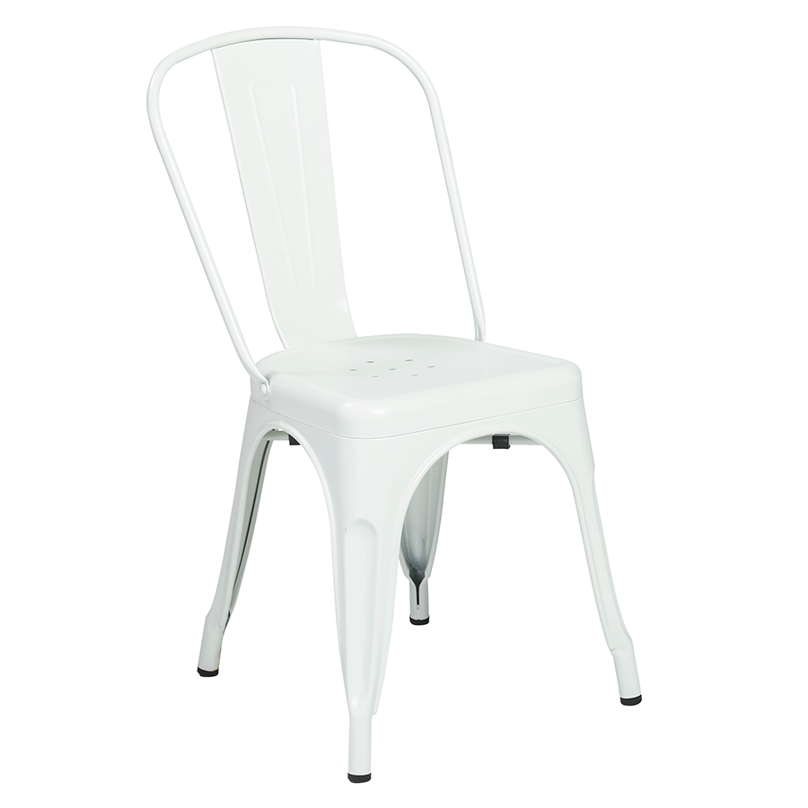 Corsair Matte White Metal European Dining Side Chair