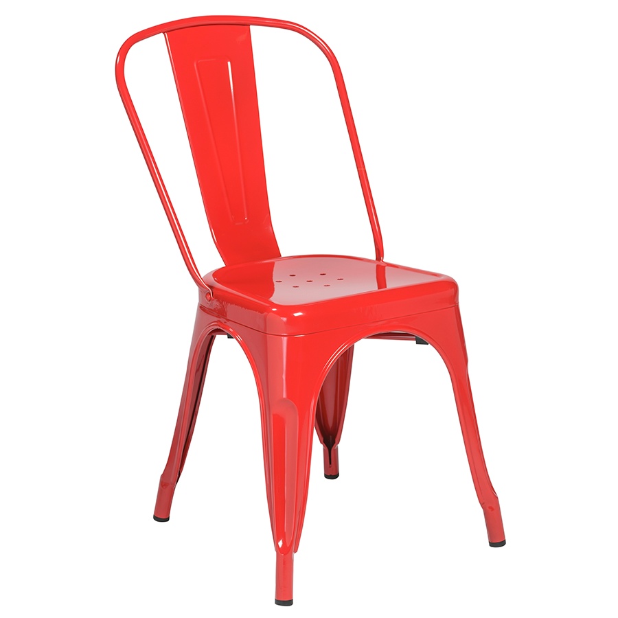 Corsair Red Contemporary European Metal Dining Side Chair