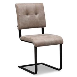 Crispus Taupe Faux Leather + Black Metal Mid Century Modern European Contemporary Dining Side Chair