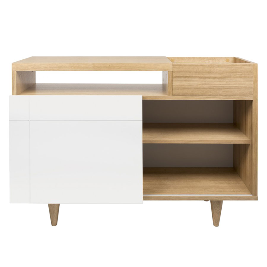 Cruz Contemporary Media Stand in Oak + White by TemaHome
