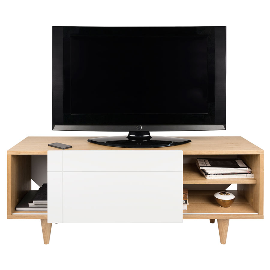 Cruz Modern TV Stand in White + Oak by TemaHome