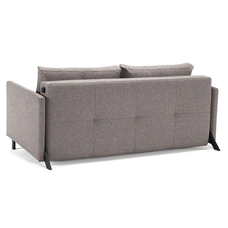 Cubed Modern Queen Sleeper Sofa w/ Arms in Grey - Back View