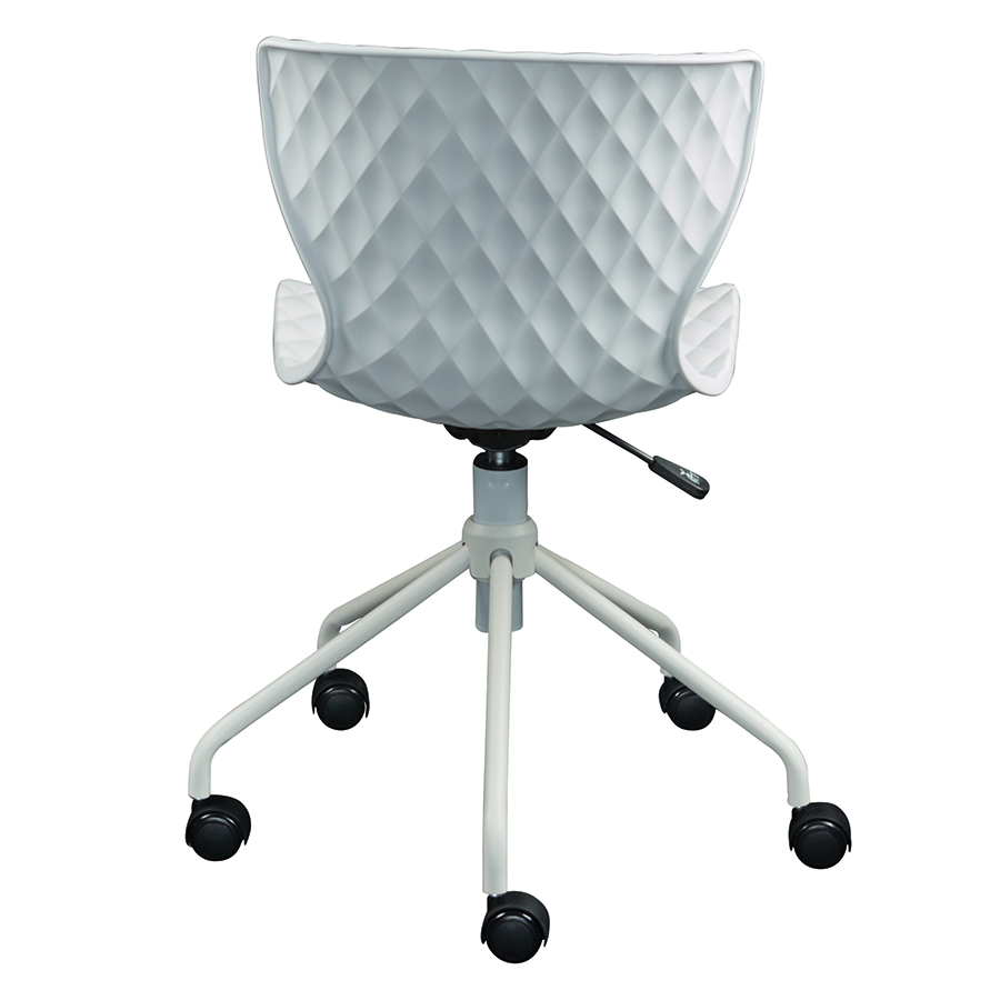 Daly White Plastic + Metal Modern Task Chair