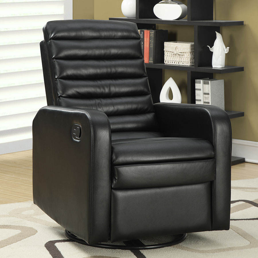 Damien Contemporary Black Leather Recliner Swivel Glider