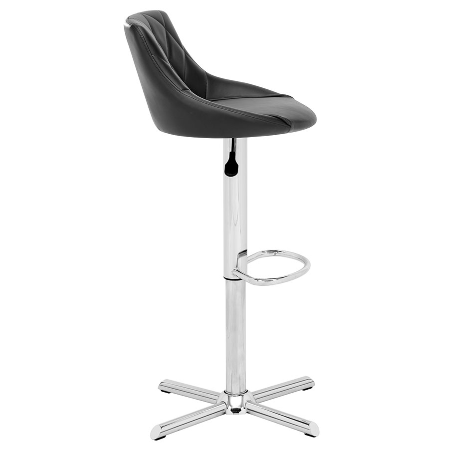 Damon Black Leatherette Modern Adjustable Stool