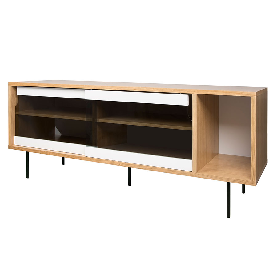 Dann Oak + Glass + Black Contemporary Sideboard