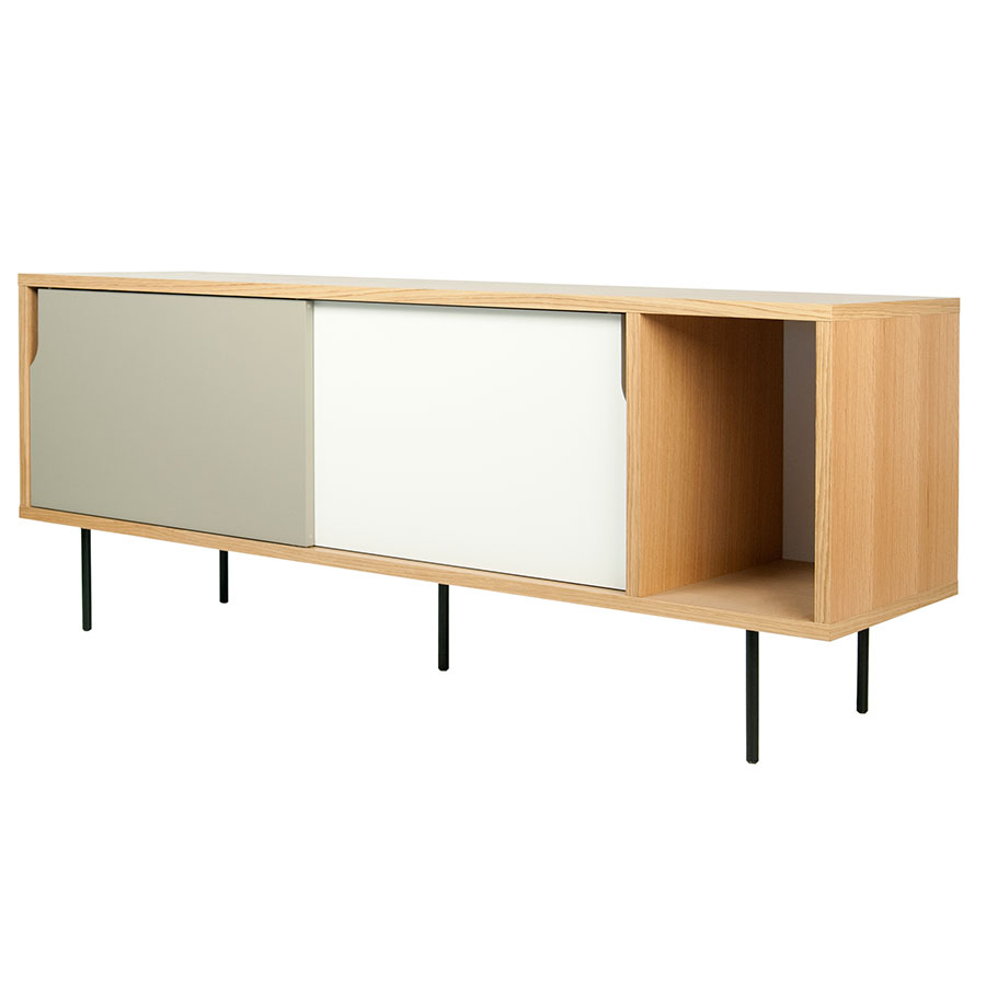 Dann Oak + White + Gray + Black Contemporary Sideboard