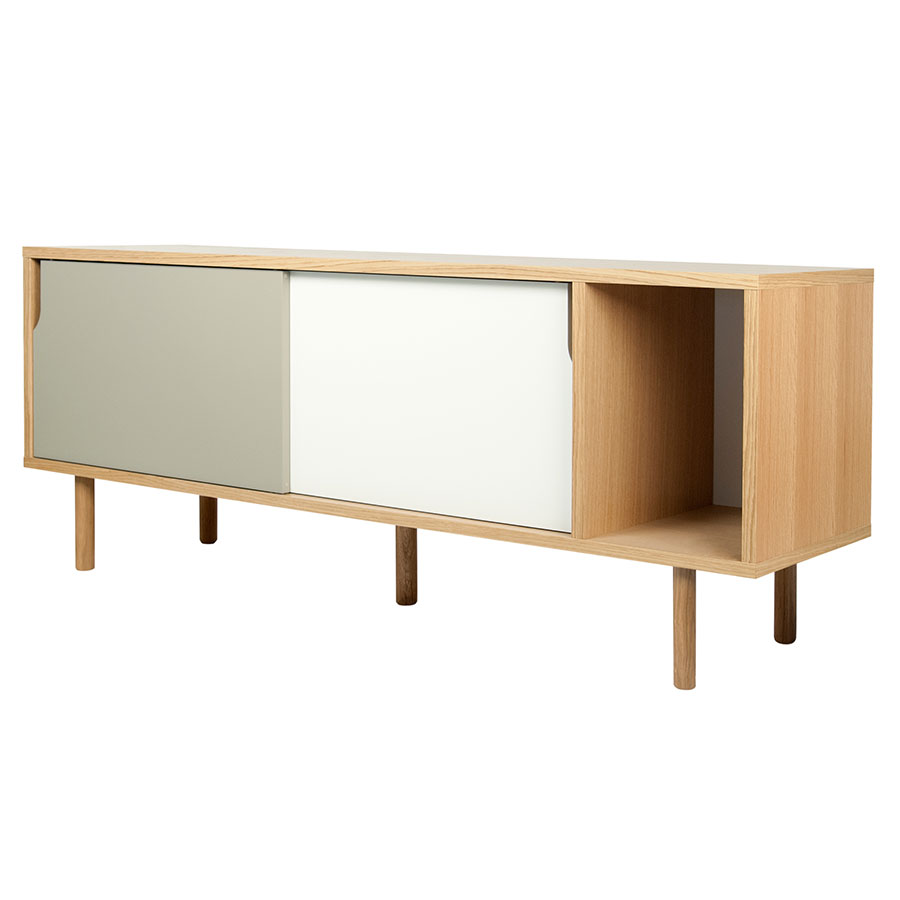 Dann Oak + White + Gray Contemporary Sideboard