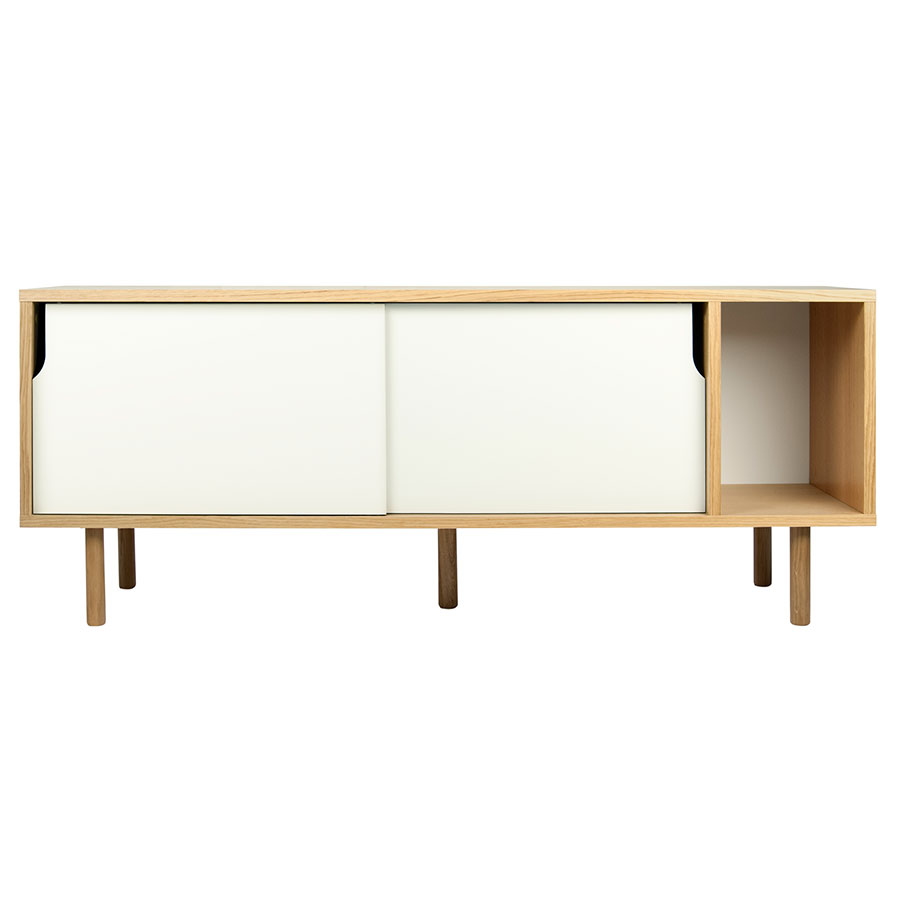 Dann Oak + White Contemporary Sideboard Front