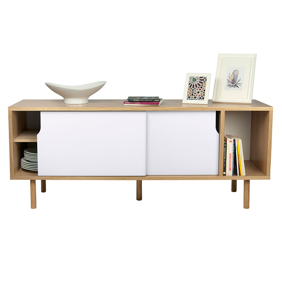 Dann Oak + White Contemporary Sideboard Dressed