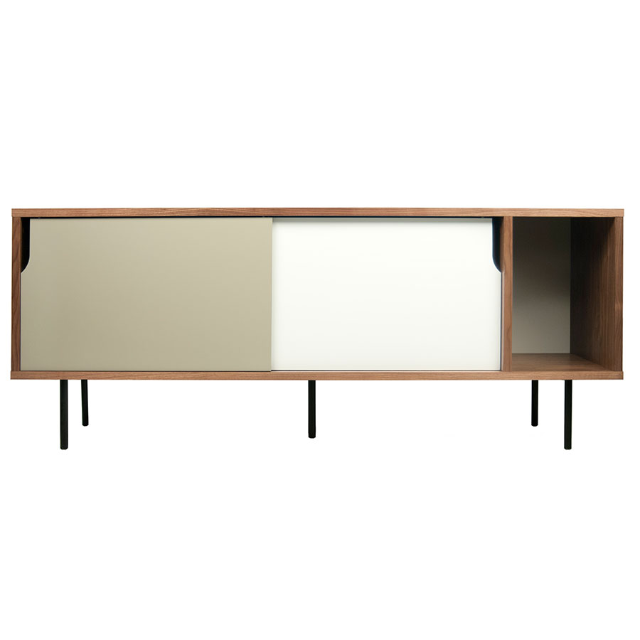 Dann Walnut + White + Gray + Black Contemporary Sideboard Front