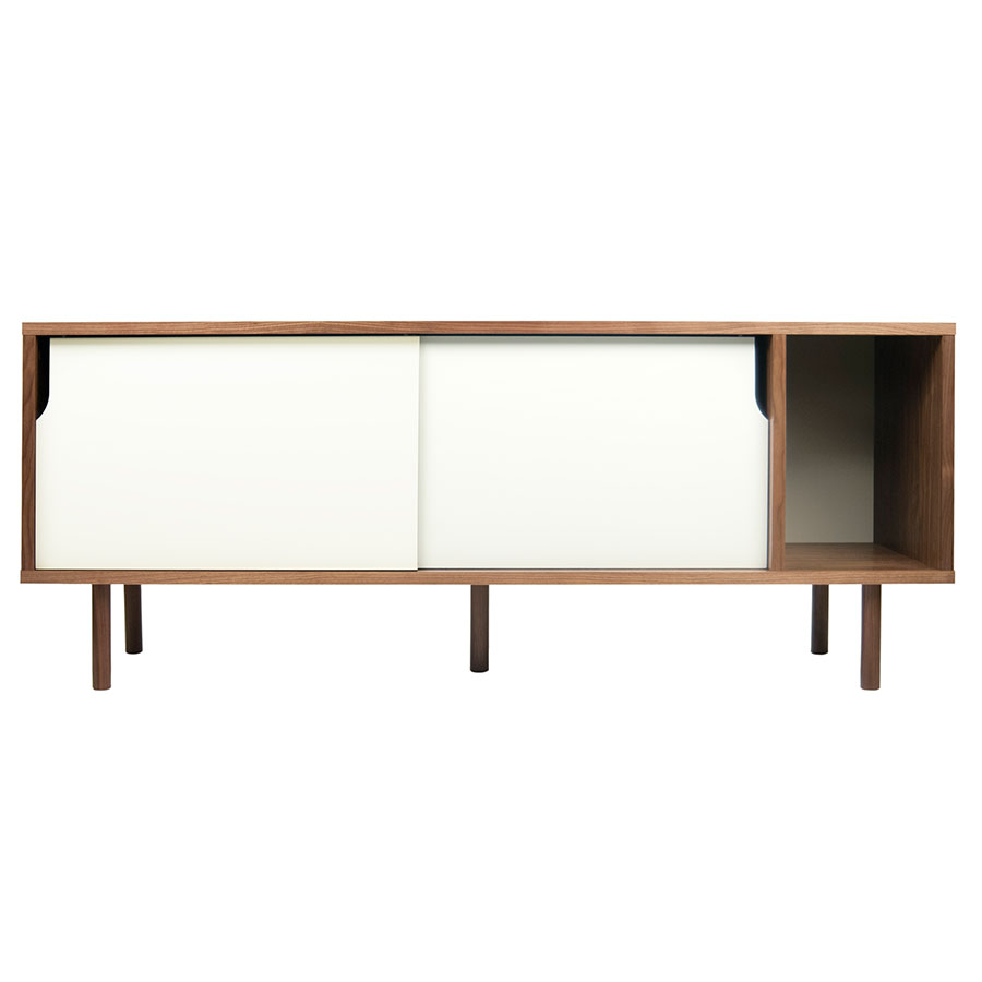Dann Walnut + White Contemporary Sideboard Front