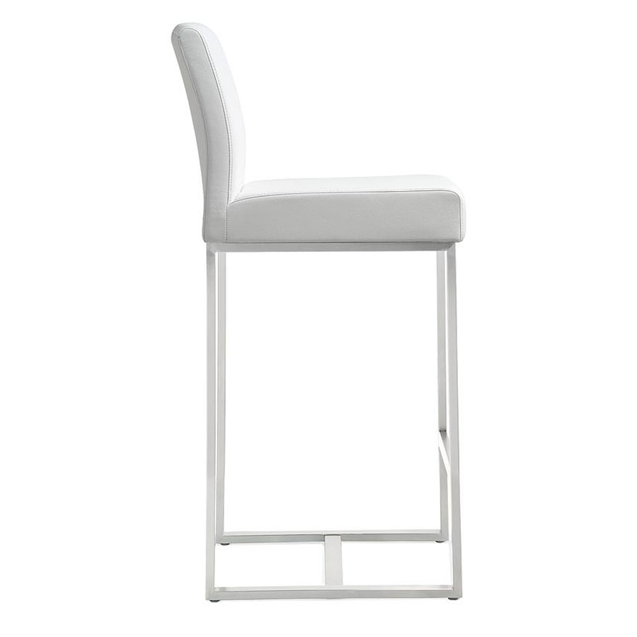 Danube Modern White Bar Stool - Side View