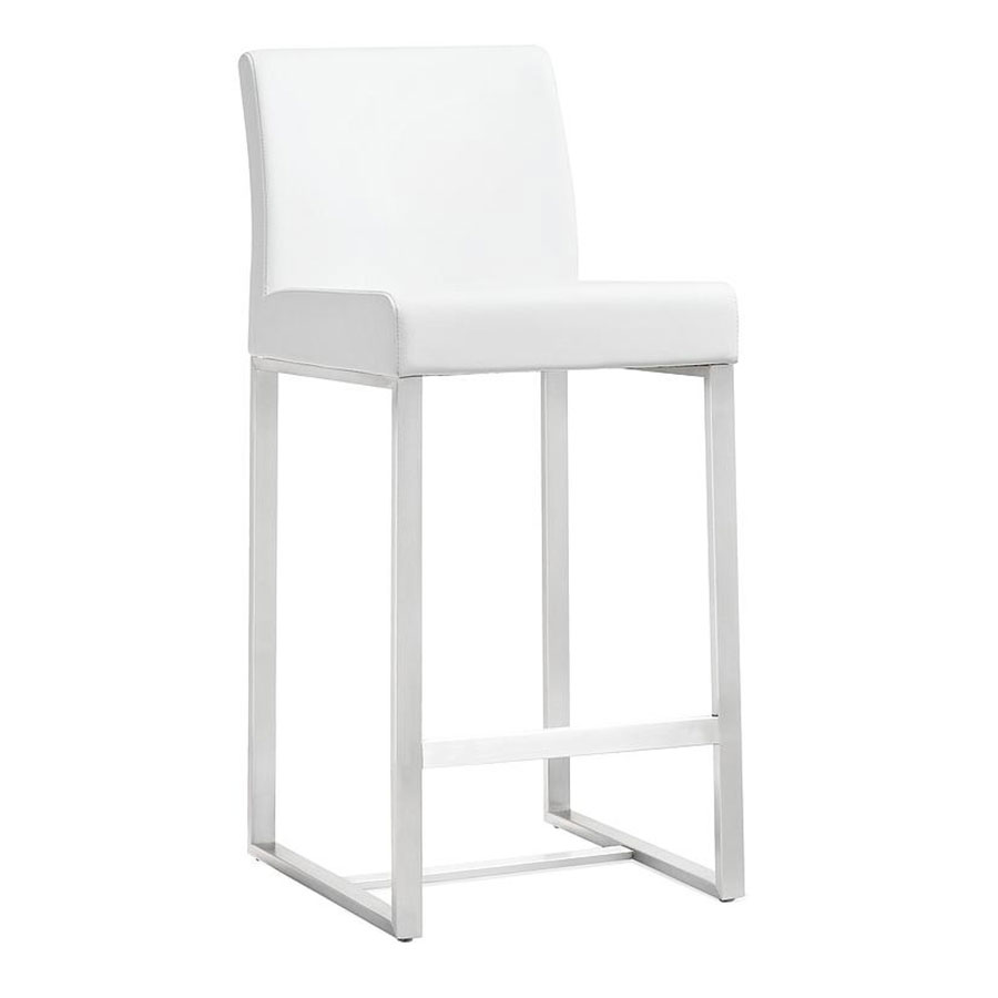 Danube Modern White Bar Height Stool