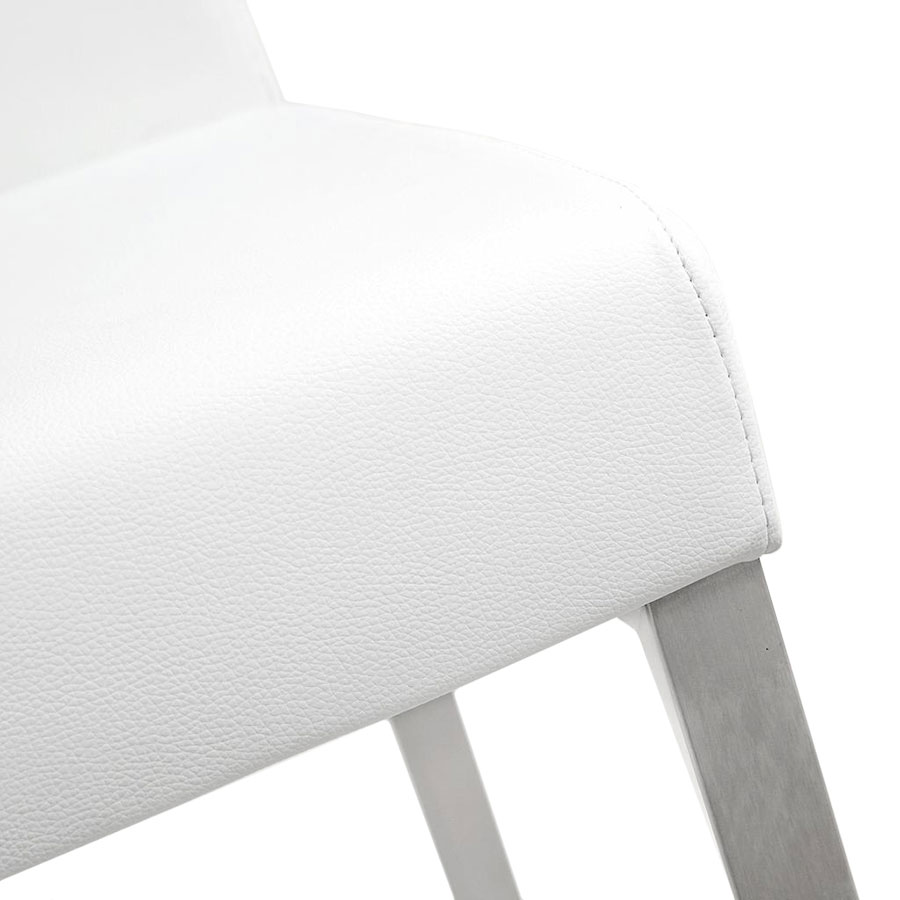 Danube Modern White Bar Stool - Seat Detail