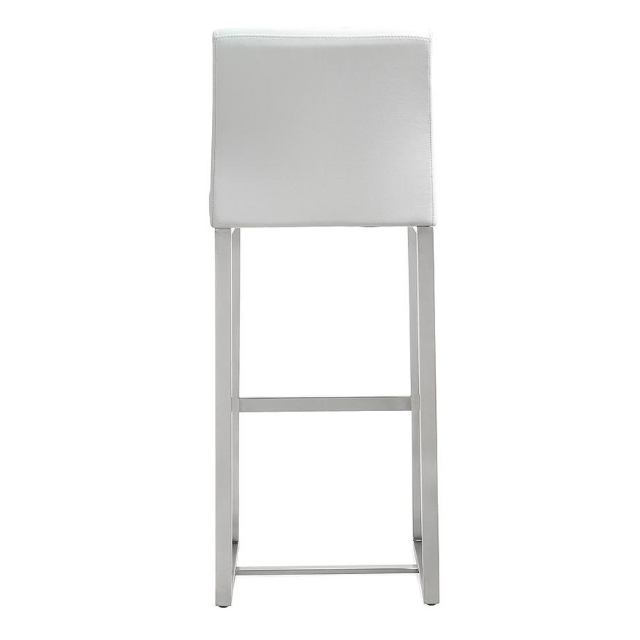 Danube Modern White Counter Stool - Back View