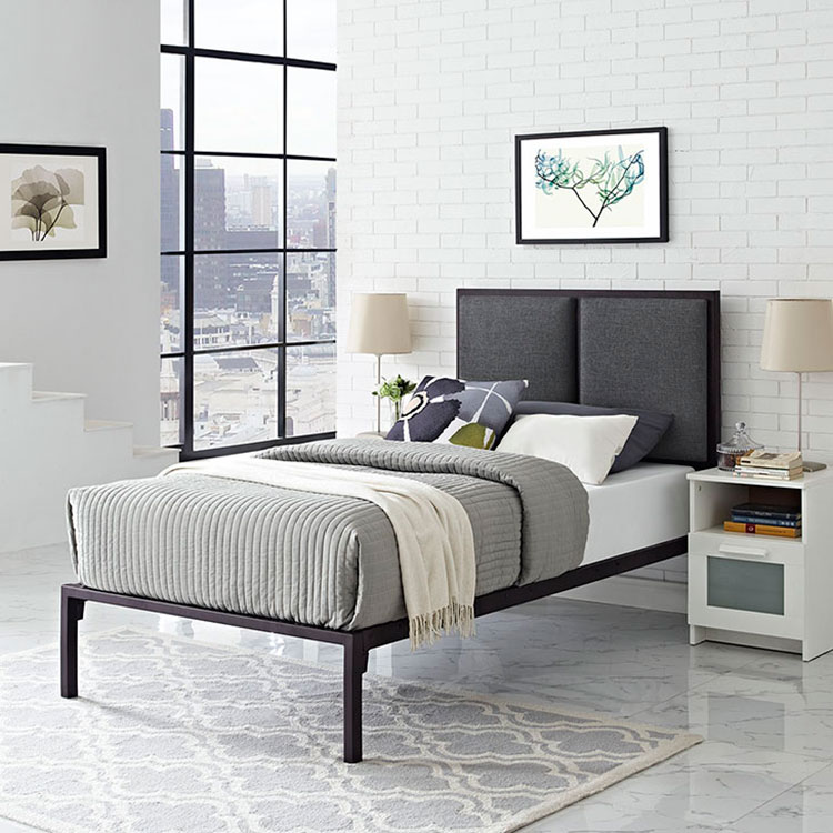 Darla Contemporary Brown + Gray Kid's Platform Bed