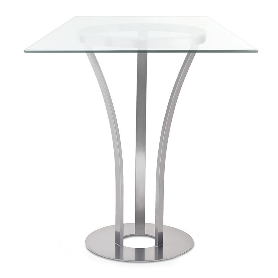 Davai Clear Glass + Metal Modern Bar Height Table