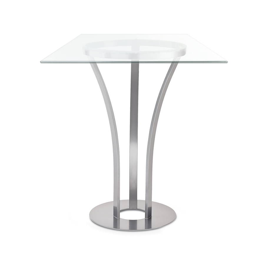Davai Clear Glass + Metal Modern Counter Height Table