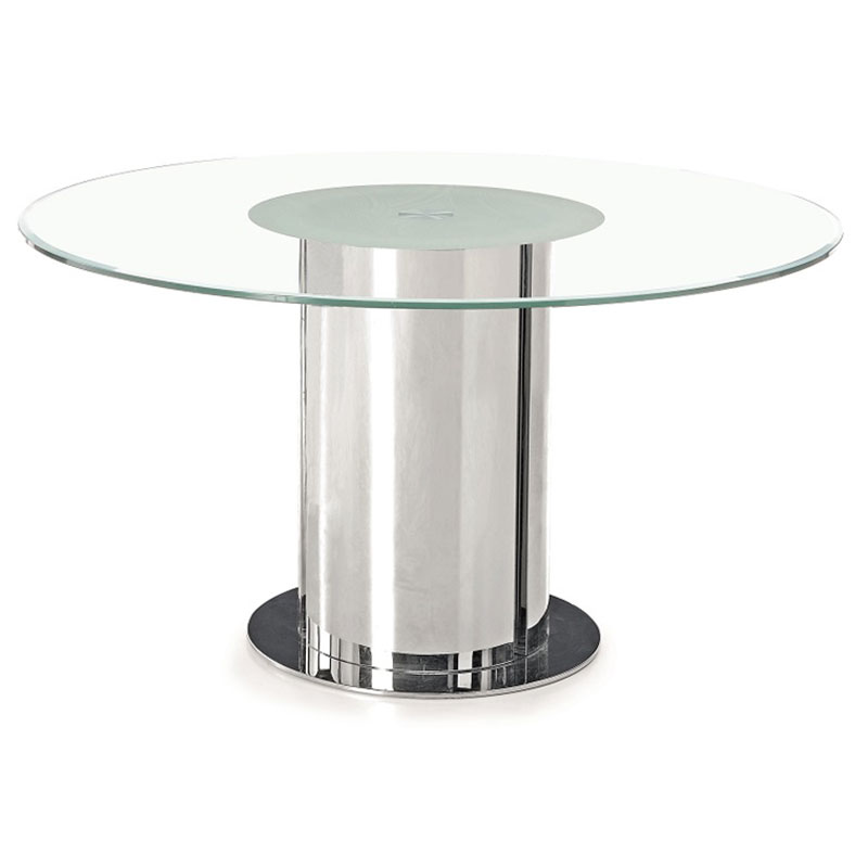 Davos Modern Round Glass Dining Table