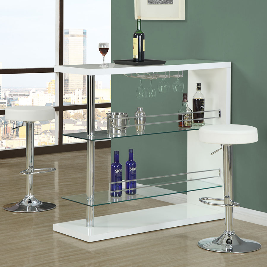 Decklyn Contemporary White Adjustable Bar Stool