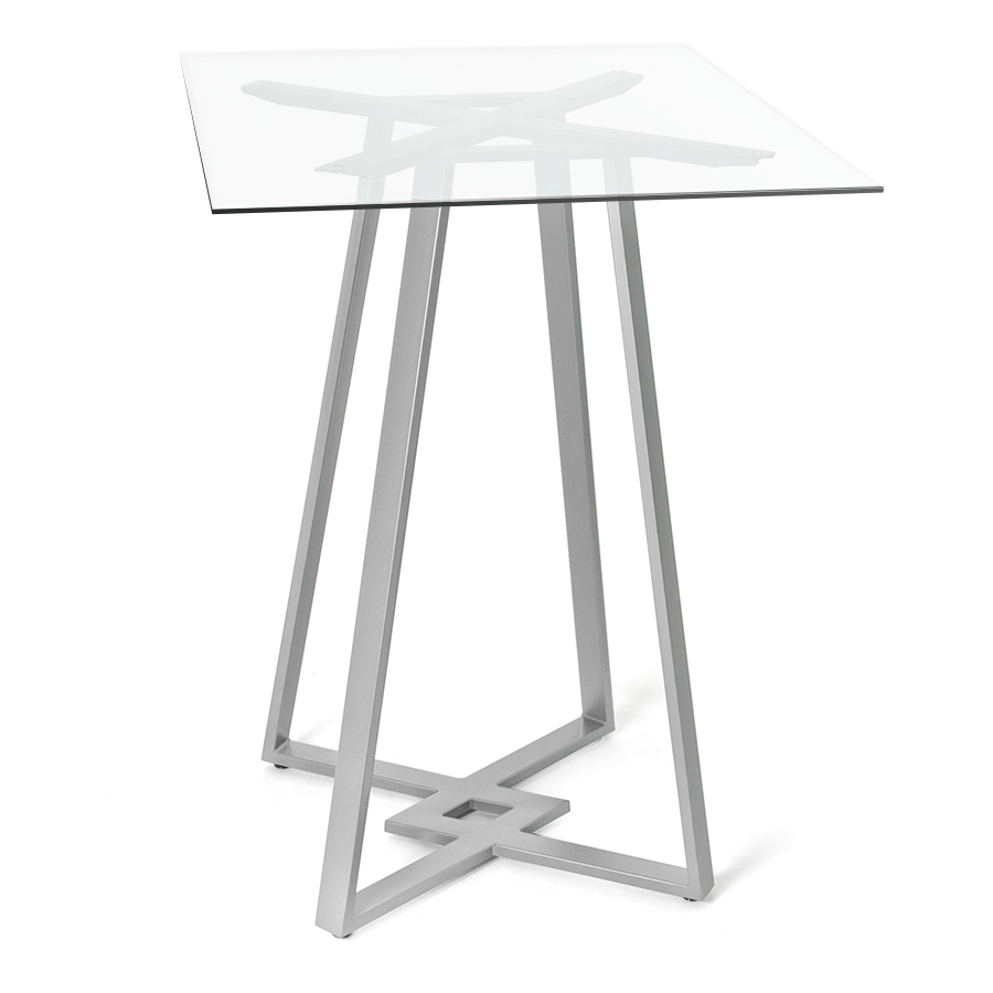 DeeDee Clear Glass + Metal Modern Bar Height Table